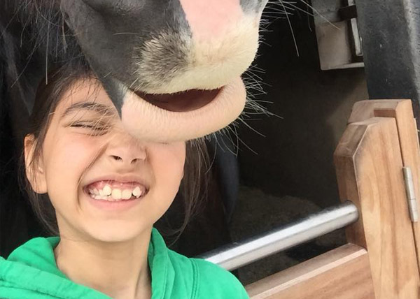 Happy child with pony